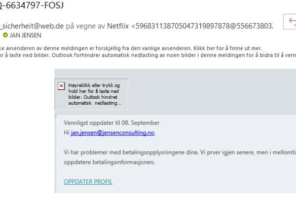 eksempel på phishing